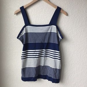 Vintage 1970s Navy Striped Tank size Large